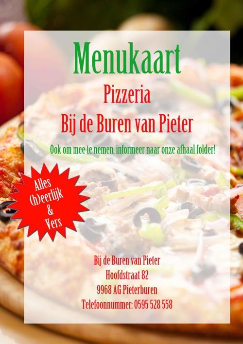 Menukaart Pizzeria Bij de Buren van Pieter
