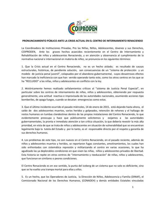 PRONUNCIAMIENTO Caso Centro Renaciendo.