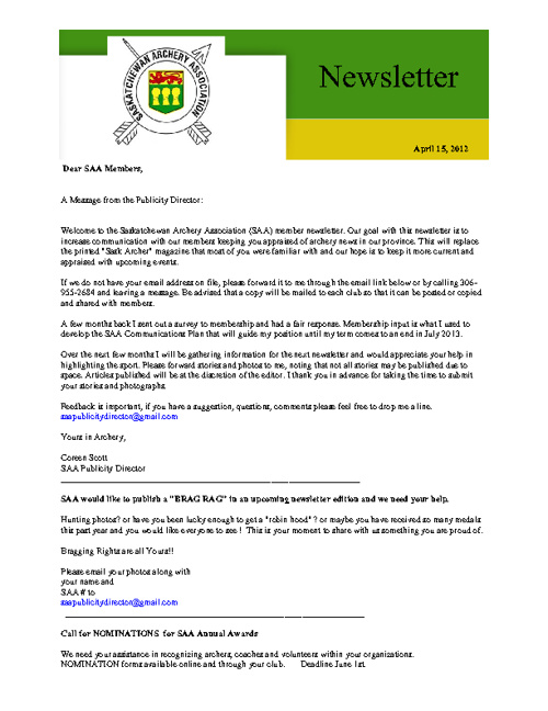 SAA Newsletters