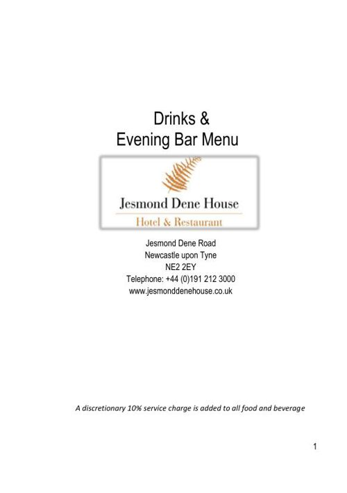 JDH Bar Menu May 2015