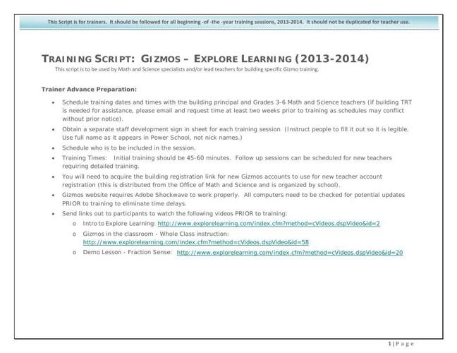 Gizmos Training Script 2013-2014