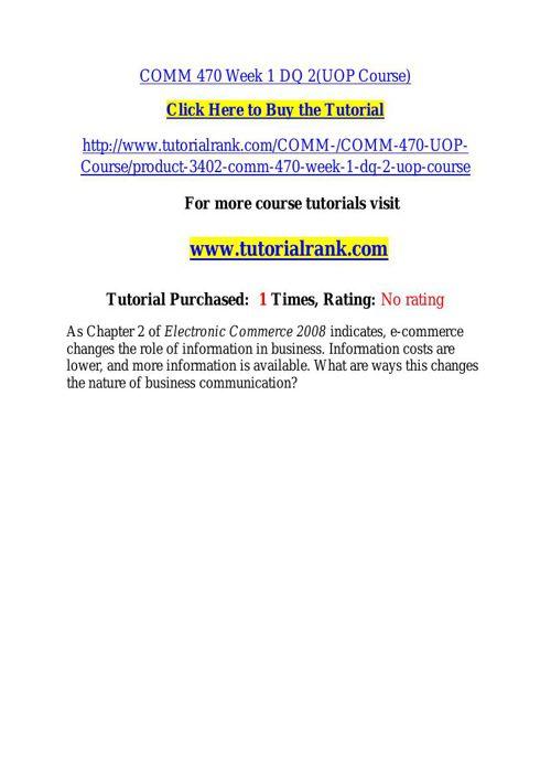 COMM 470 learning consultant / tutorialrank.com