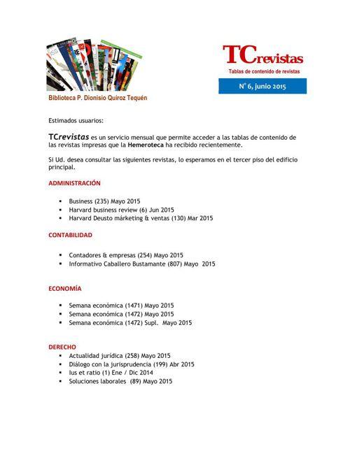 TCrevistas: Tablas de contenido de revistas N° 6, junio 2015