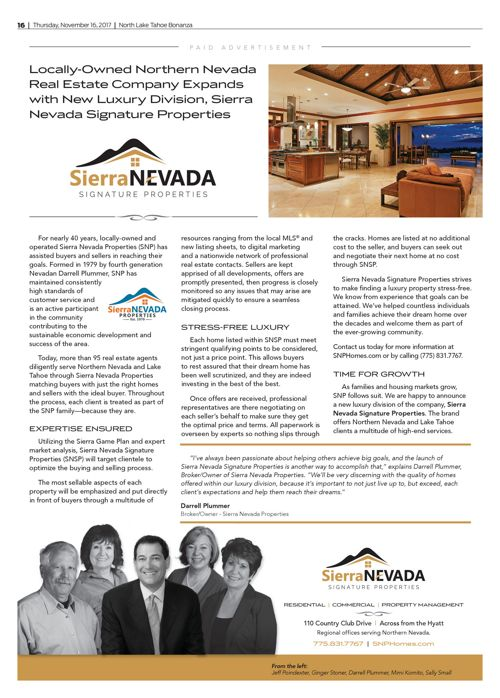 SNP Announces Luxury Sierra Signature Properties!