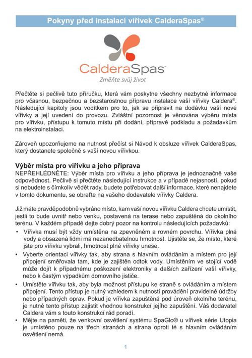 Pokyny před instalací vířivek CalderaSpas®