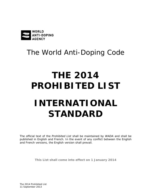 World Anti-Doping Agency - Prohibited List 2014