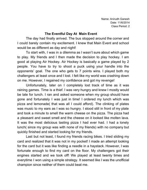Anirudh's 6th grade Narrative Essays