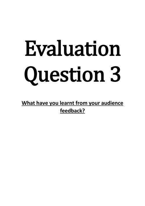 Evaluation Question 3