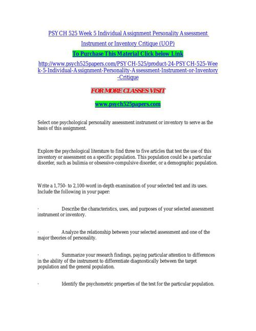PSYCH 525 Week 5 Individual Assignment Personality Assessment In