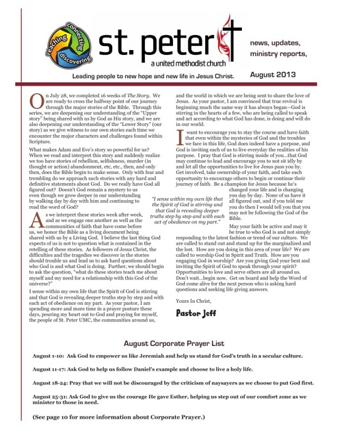 August 2013 St. Peter UMC Newsletter