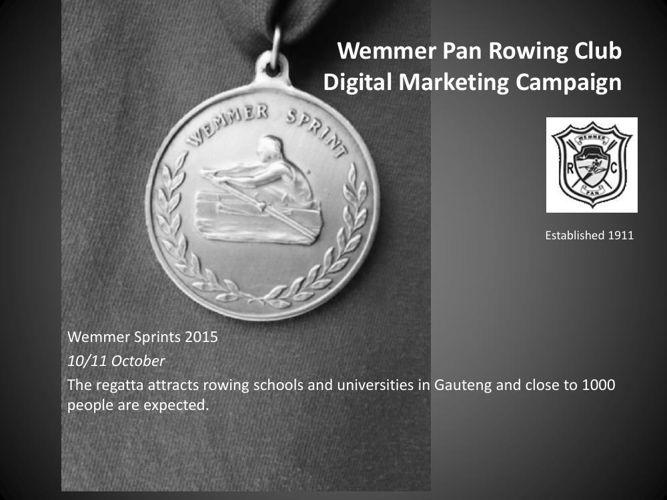 Wemmer Pan Rowing Club Sprints 2015 advertising packages
