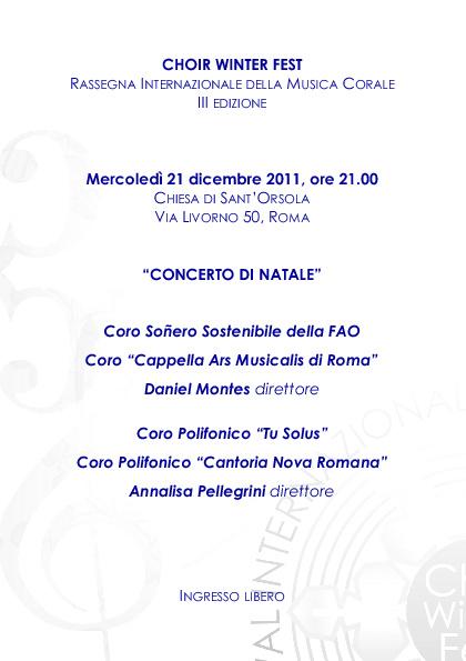 """CHOIR W. F : PROGRAMMA DI SALA 21 /12 /2011 : """"AUGURI DI NATALE"""""""