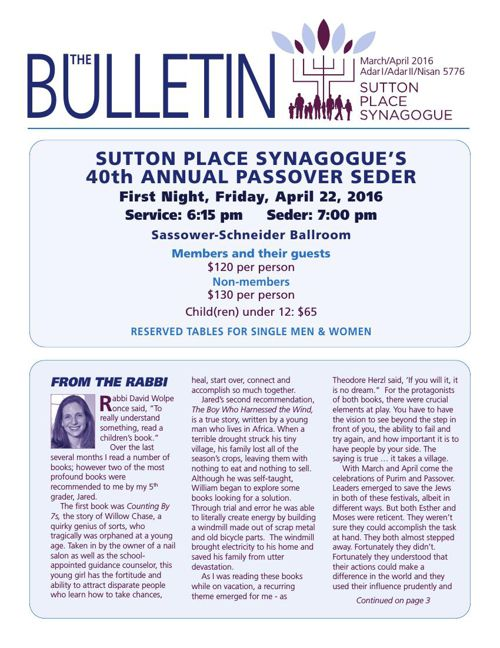 SUTTON PLACE SYNAGOGUE 2016 MARCH/APRIL BULETIN