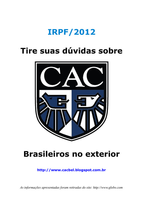 IR 2012 - Brasileiros no exterior