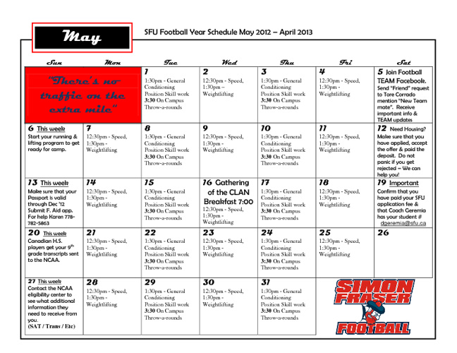 Download 2012 Season Calendar