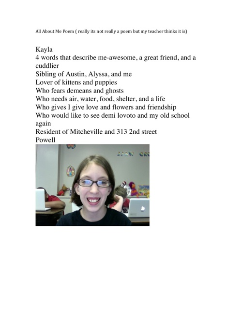 about me, 8th birthday,christmas paper poem, and kayla poem