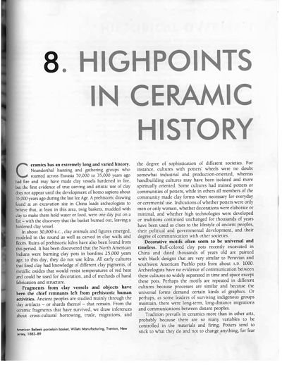 Highpoints in Ceramic History