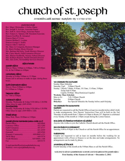 December 2, 2012 Bulletin
