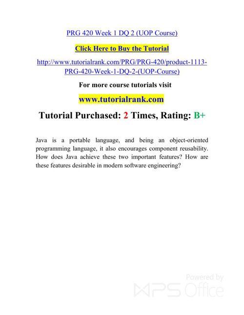 PRG 420 UOP Courses /TutorialRank