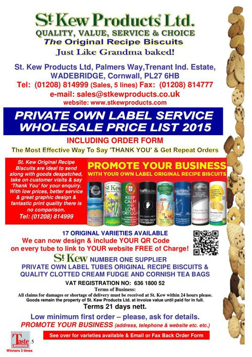 PRICE LIST OWN LABEL RANGE & Gift Baskets