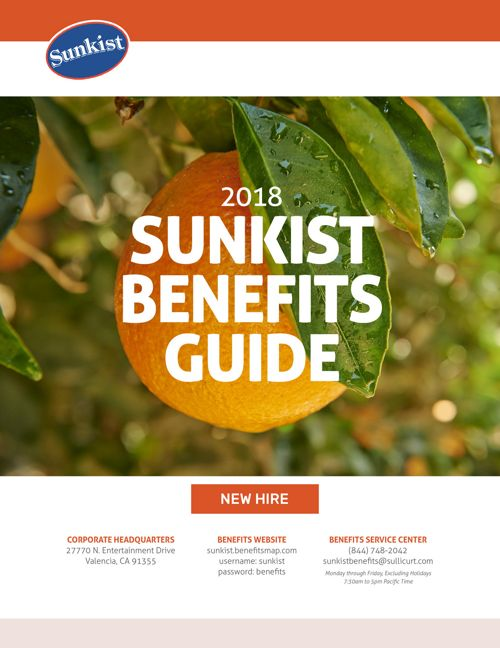 2018 Sunkist New Hire Benefits Guide