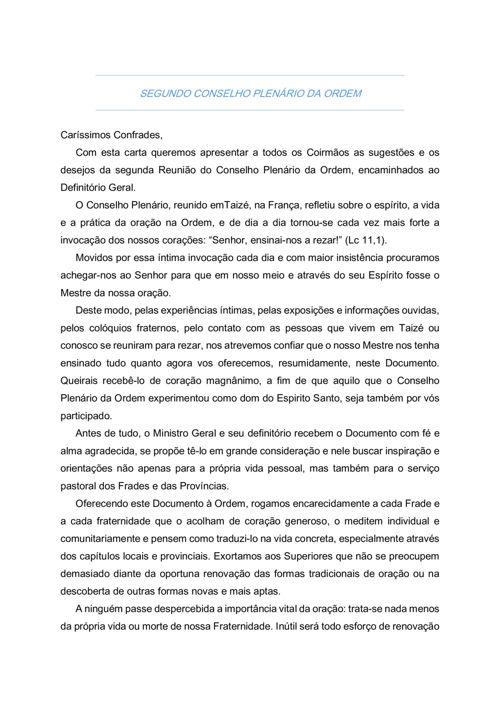 II CONSELHO PLENÁRIO DA ORDEM