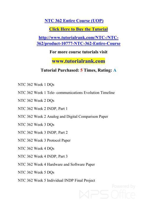 NTC 362 UOP Courses /TutorialRank