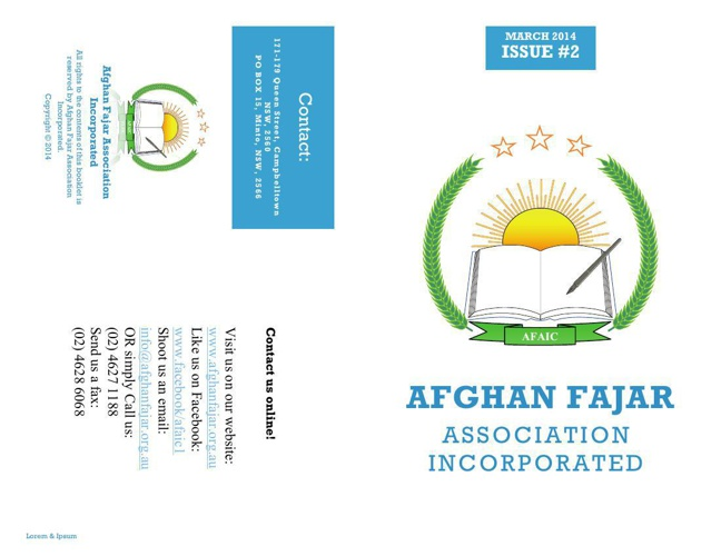 Afghan Fajar Association Inc. Brochure