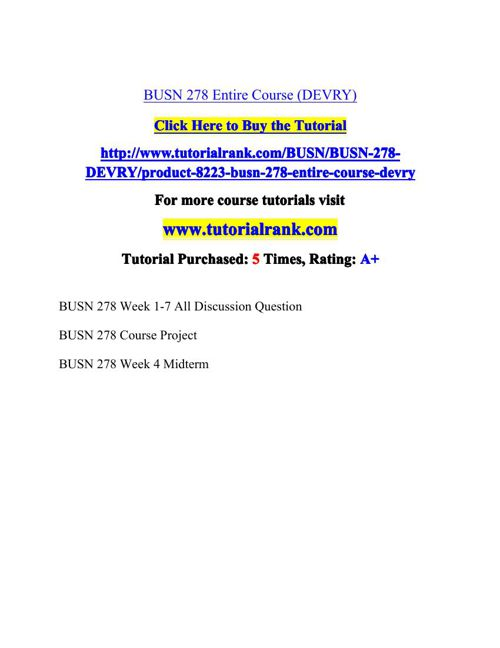 BUSN 278 Potential Instructors / tutorialrank.com