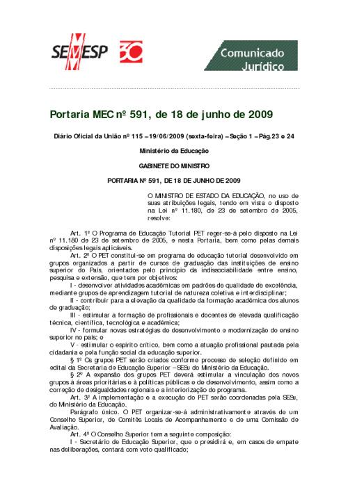 Portaria nº  591, de 18 de junho de 2009
