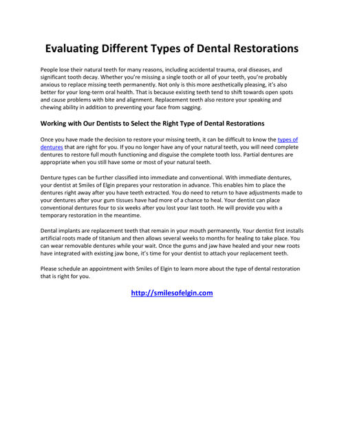 Evaluating Different Types of Dental Restorations