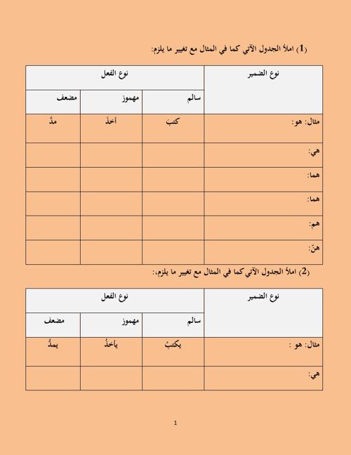 جدول مهم