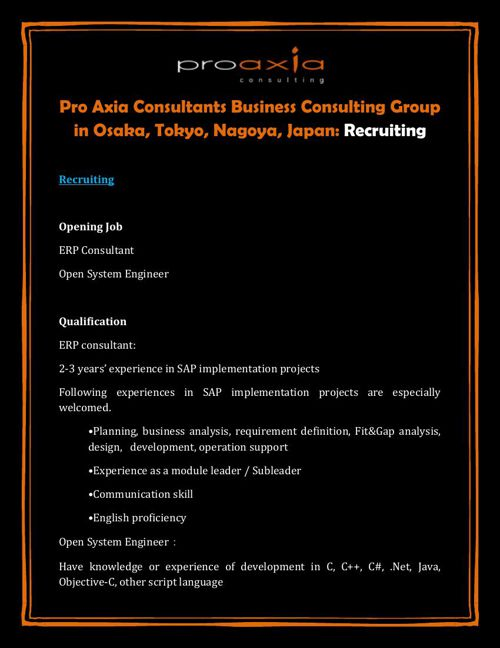 Pro Axia Consultants Business Consulting Group in Osaka, Tokyo,