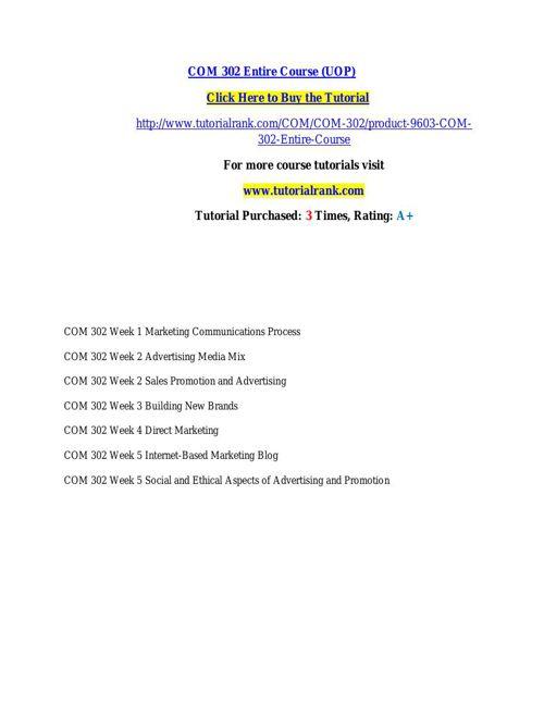 COM 302 learning consultant / tutorialrank.com