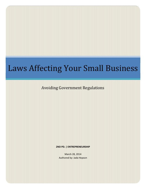 Laws Affecting Your Small Business Handbook PDF
