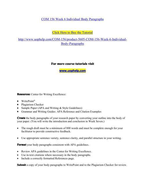 COM 156 Week 6 Individual Body Paragraphs