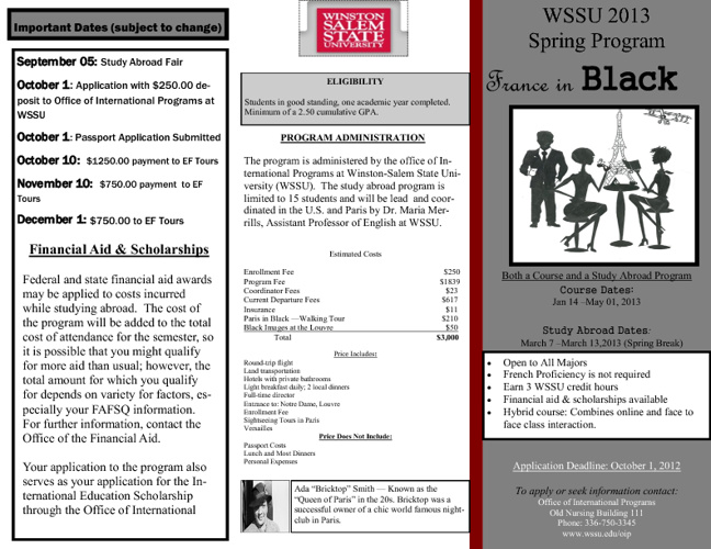 France in Black: WSSU 2013 Study Abroad to Paris