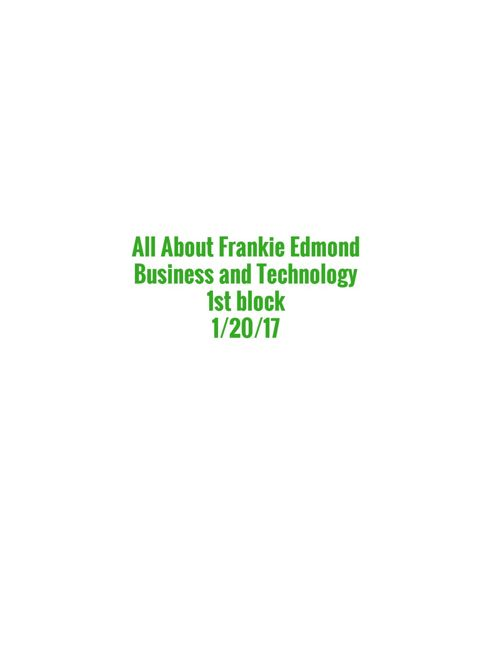 All About Frankie Edmond