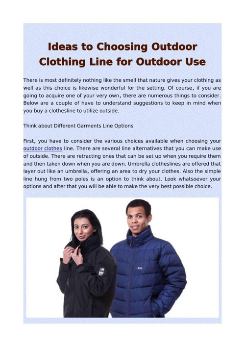 Ideas to Choosing Outdoor Clothing Line for Outdoor Use