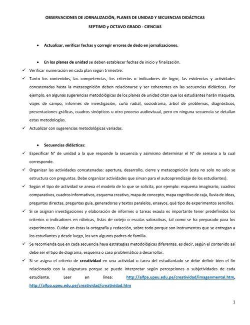 OBSERVACIONES DE SECUENCIAS DIDÁCTICAS CC 7° Y 8°
