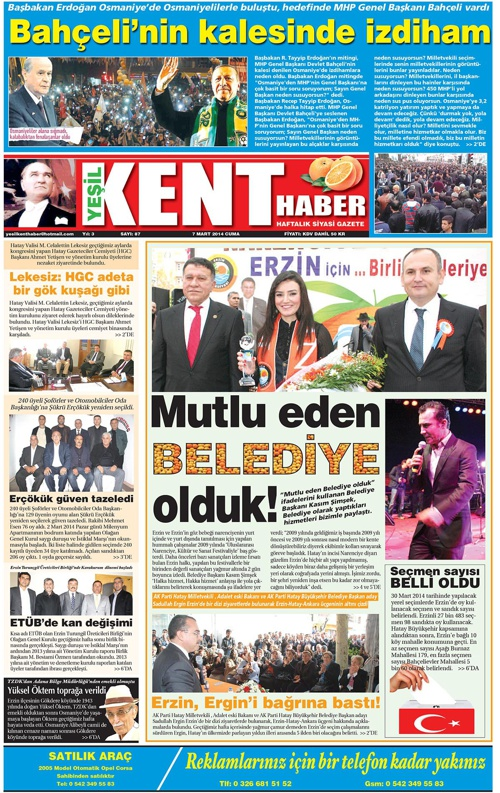 Yeşilkent Haber Gazetesi - Sayı 87