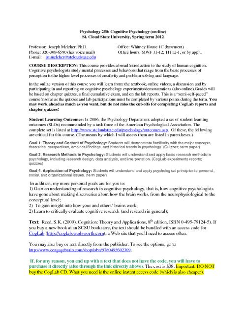 PSY 250 syllabus Spring 2012