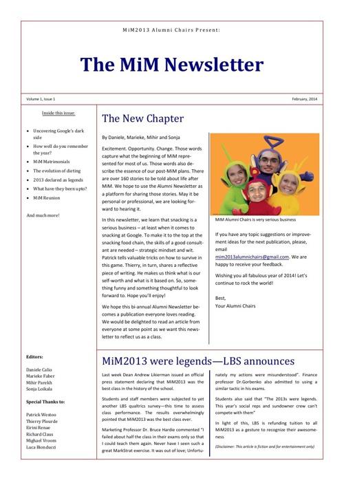 MiM Newsletter - Feb 2014