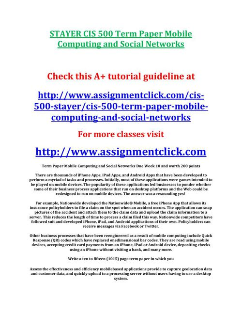 STAYER CIS 500 Term Paper Mobile Computing and Social Networks