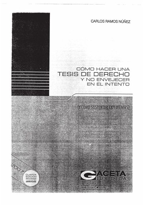 COMO HACER UNA TESIS DE DERECHO  -RAMOS NUÑEZ CARLOS1