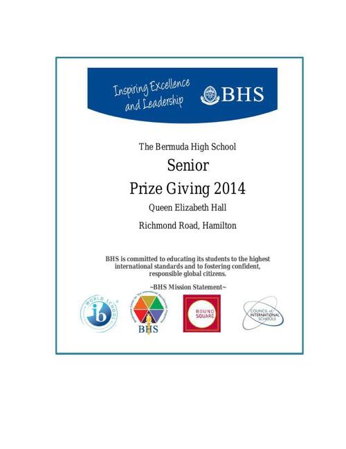 Senior Years Prize Winners 2013-2014