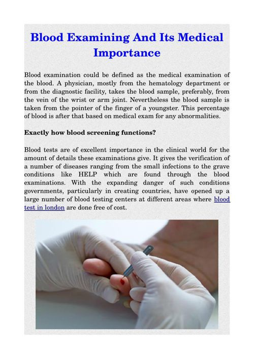 Blood Examining And Its Medical Importance