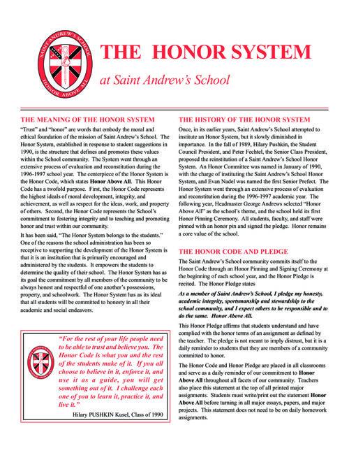 Saint Andrew's School Honor Code