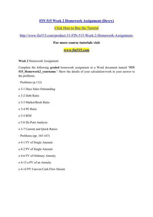 FIN 515 Week 2 Homework Assignment (Devry)