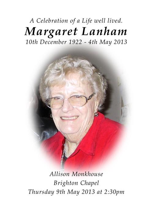 4 Order of Service for Margaret Lanham V3